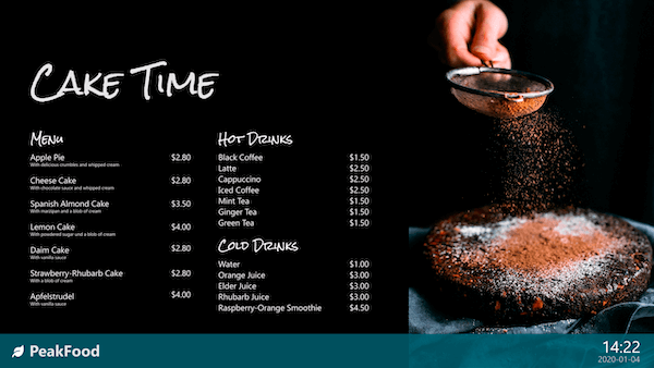 corporate digital signage for your canteen or gastronomy